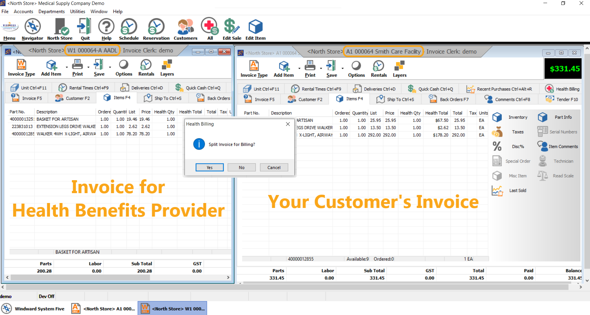 Split billing invoices for provider and customer